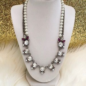 LOFT pearl and gems silver statement necklace
